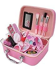 Queenser Kit de maquiagem para meninas para crianças Conjunto de maquiagem infantil para meninas Princesa de maquiagem para meninas Kit de cosméticos atóxico Brinquedos de simulação de maquiagem Brinq
