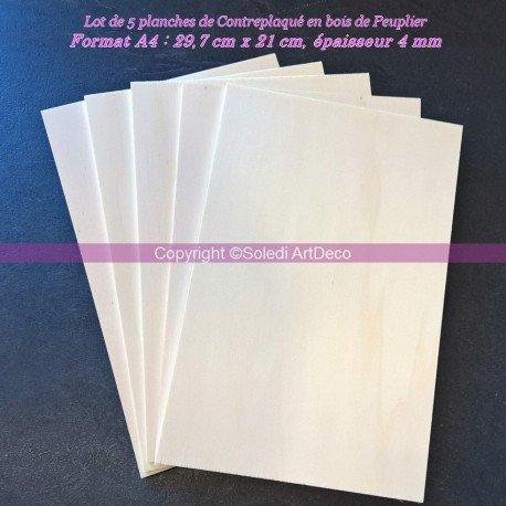 Set di 5 tavole in compensato di pioppo, spessore 4 mm, formato A4 Lealoo®