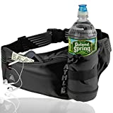Athlé Running Fanny Pack with Water Bottle Holder - Adjustable Run Belt Storage Pouch with Zipper Pocket for Sports and Travel - 360° Reflective Band - Fits iPhone Plus, Galaxy Note - Black/Silver