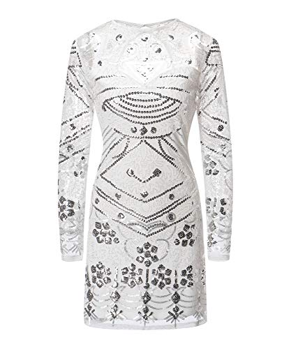 VVMCURVE Women's Sequin Beaded Bodycon Long Sleeve Sexy Backless Party Night Club Mini Dress (X-Large, White-Silver)