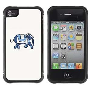 Híbridos estuche rígido plástico de protección con soporte para el Apple iPhone 4 / 4S - blue white artistic minimalist animal