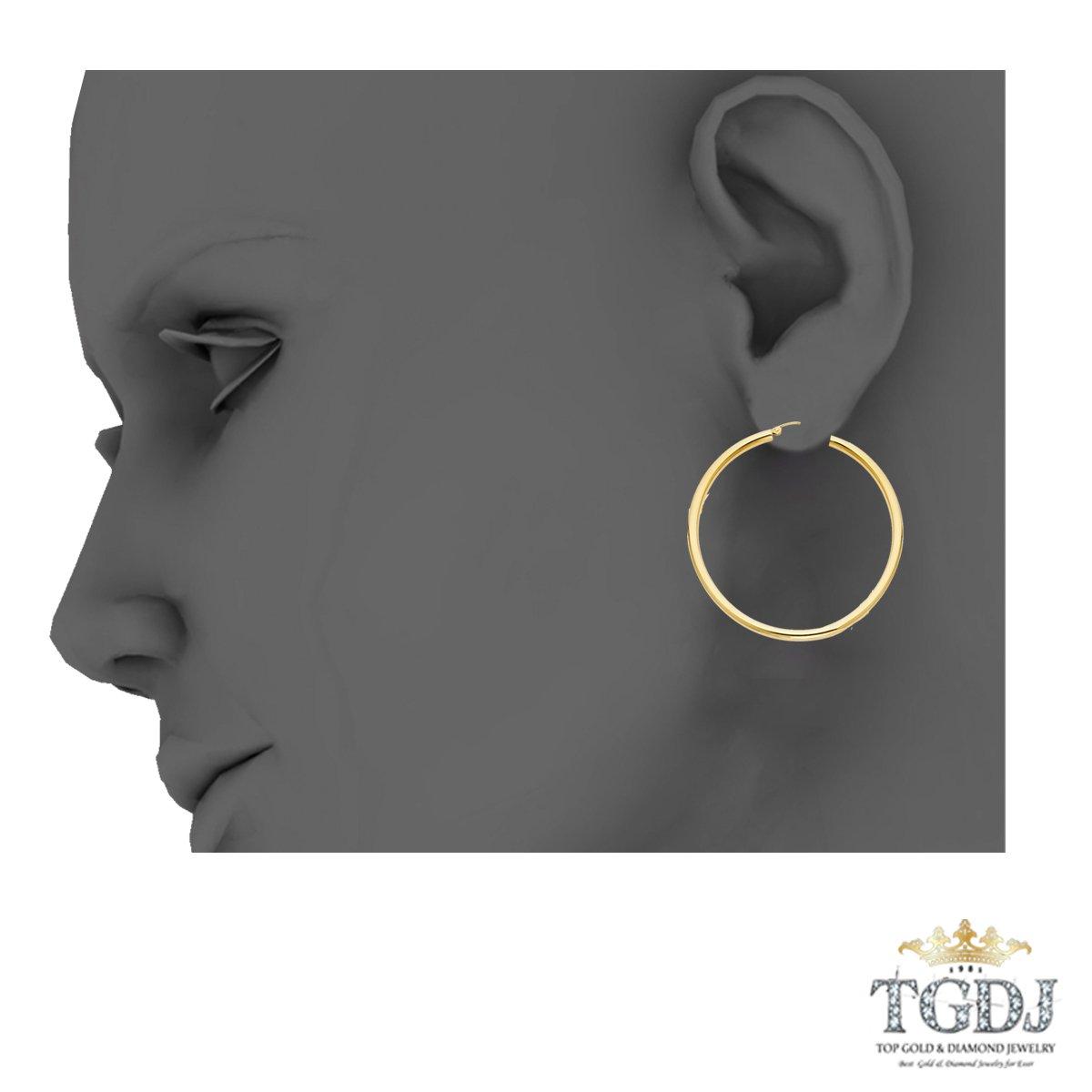 14k Yellow Gold 3mm Thickness Hinged Plain Hoop Earrings Diameter -28mm