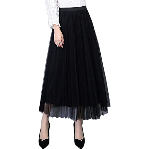 21d3ebc9c L&Z Women's Long Tulle Skirt Elastic Waist High Waist A-Line Pleated  Midi