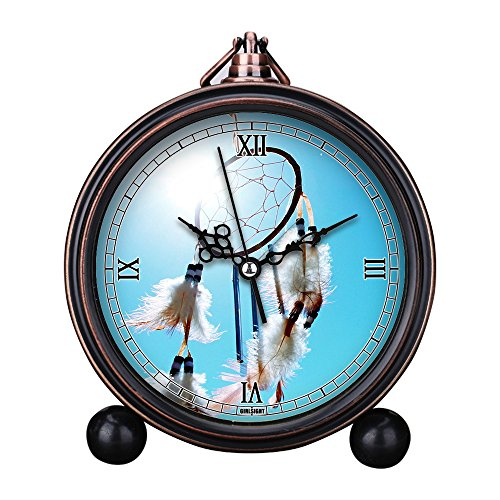 Vintage Retro Living Room Decorative Non-Ticking, HD Glass Lens, Quartz, Analog Large Numerals Bedside Table Desk Alarm Clock Cute Cat Dog Series -047.Black Dream Catcher During ()