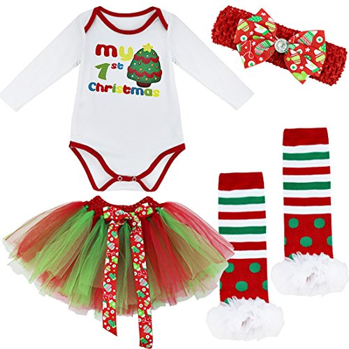 Baby Elf Outfits For Christmas (iiniim Baby Girls My First Christmas Tree Romper Fancy Dress Up Outfit Set Clothing Christmas Tree 6-9 Months)
