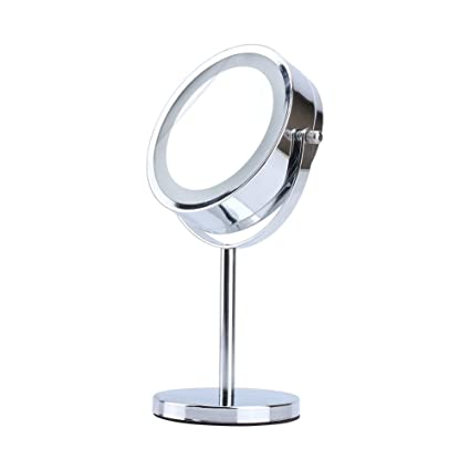 Beauty & Health Makeup Mirror Portable Led Lighted Silver Round Double Sided Mirror Desktop Fold Lamp Magnifier For Beauty Plastic Glass Shaving