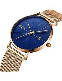 Mens Watch,Business Fashion Top Brand Luxury Dress Casual Watch Mesh Strap Waterproof with Date Wristwatch Blue