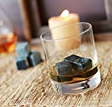 Xcellent Global Best Whiskey Stones - Soapstone Whiskey Rocks and a Velvet Bag - 9 Piece Gift Set Chilling Your Drink without Diluting - Perfect as New Years, Christmas, Valentine's Day, Wedding, Father's Day, Birthday or Gift Card Idea for Him or for Your Next Cocktail Party M-HG066