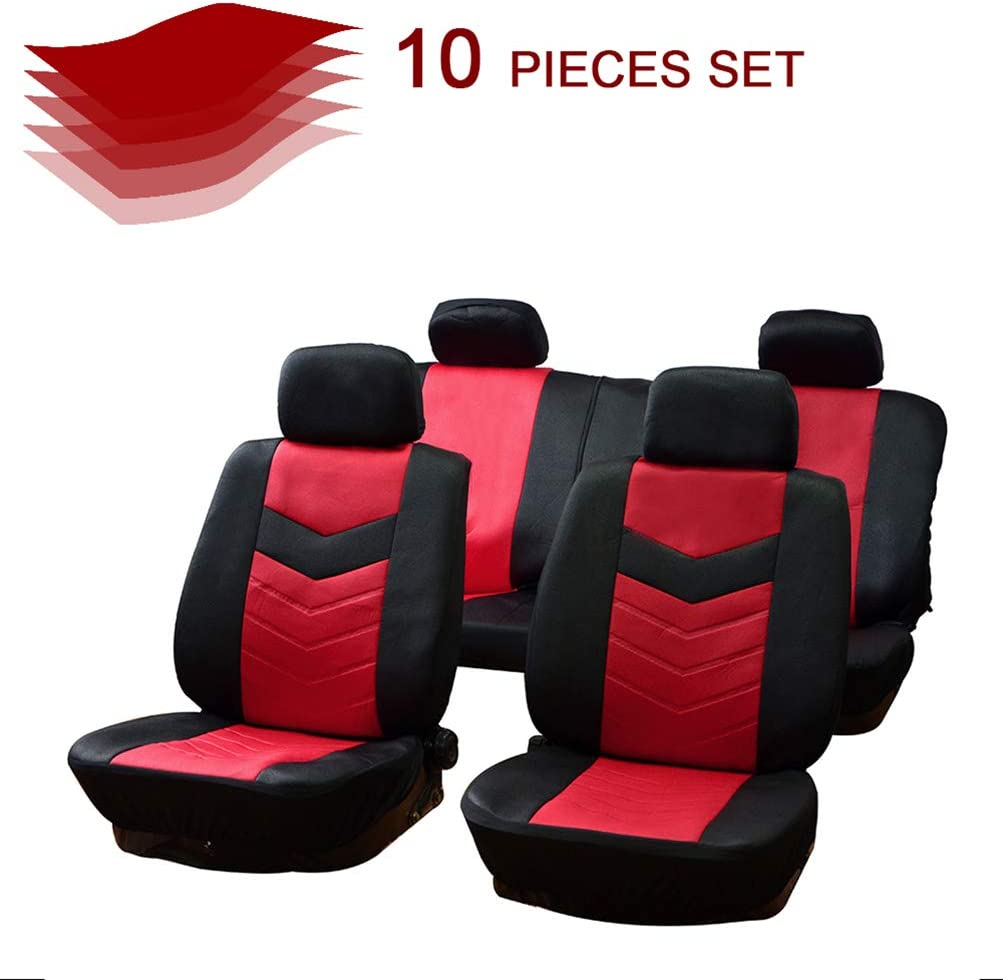 cciyu Black/Red Embossed Cloth Car Seat Cover,Washable Auto Covers Two-Tone Accent Replacement fit for Most Cars, Split Bench