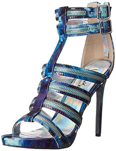 Luichiny Women's Tone Down Platform Sandal, Blue, 5 M US -