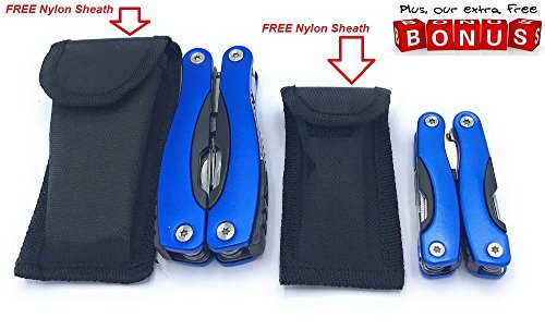 Review Multitool Pocket Multi-Purpose Pocket Knife Plier Kit in Durable Blue Heavy Duty Stainless Steel Multi Tool for Survival Camping Fishing Hunting Hiking with Nylon Sheath FREE Baby Plier BY SKM