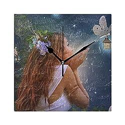 HangWang Wall Clock Fairy Beautiful Girl Silent Non Ticking Decorative Square Digital Clocks for Home/Office/School Clock