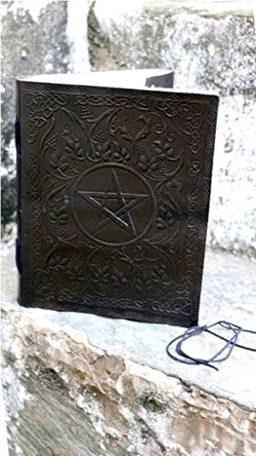 (TOL Large Leather Journal Black Pentacle Embossed Design Gift Book Diary Journal Christmas Book)