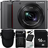 Panasonic Lumix DC-ZS200 Digital Camera (Silver) with 6pc Accessory Bundle – Includes 16GB SD Memory Card + 1x Replacement Battery + Point and Shoot Case + Battery Charger + MORE