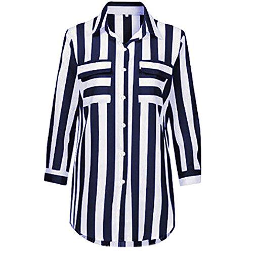 VEMOW Sommer Herbst Neue Mode Elegante Frauen Streifen Lose Langarm Bluse Damen Casual Geschäft Tops T-Shirt Pulli Marine BboMj