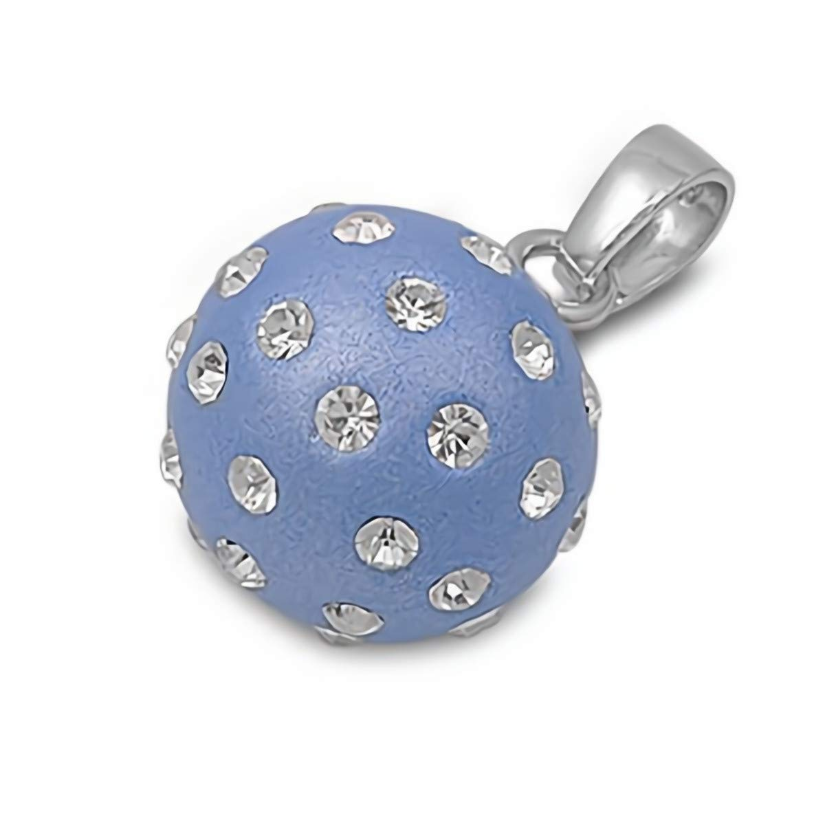 Glitzs Jewels 925 Sterling Silver Cubic Zirconia CZ Necklace Pendant Blue /& Clear