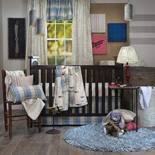 Glenna Cotton Skirt Jean Crib (Glenna Jean Air Traffic 3Pc Set with Quilt, Sheet, Crib Skirt, Blue/Red)