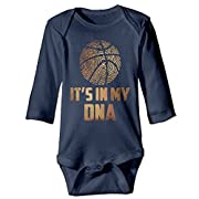 Rdiep Unisex Cotton Long Sleeve Basketball Is My DNA Newborn Baby Girls' Boys' Onesies Bodysuit 6 M Romper