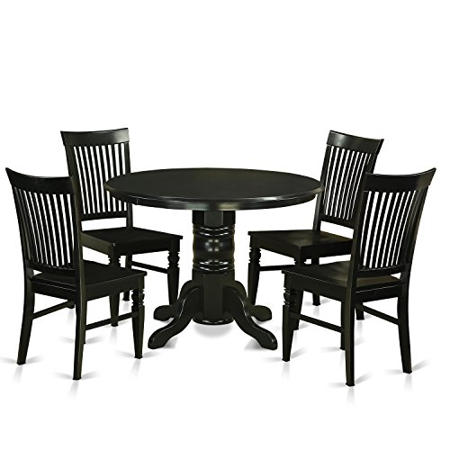East West Furniture SHWE5-BLK-W 5 Piece Kitchen Table and 4 Dinette Chairs Small Set