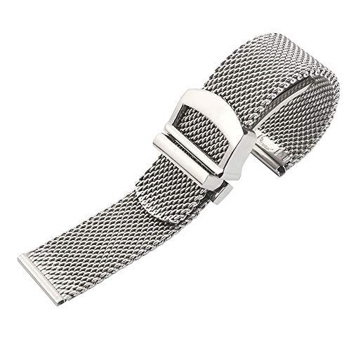 Premium Solid Mesh Stainless Steel Bracelets 20mm/22mm Watch Bands Deployment Buckle Polished Strap Wrist for Men Women