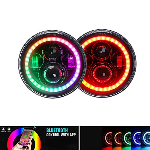 "T-Former RGB 7"" LED Headlights with Color Changing Halo Ring Bluetooth Remote Control for 1997-2017 Jeep Wrangler JK LJ CJ Hummer H1 H2 Headlamp Driving Lights Bulb (Pair)"