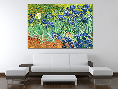 [YIMEI-ART 24'' x 32'' Vincent van Gogh Irises Modern Framed Floral Giclee Canvas Print By Van Gogh Famous Flowers Oil Paintings Reproduction Artwork Pictures on Canvas Wall] (Vincent Van Gogh Starry Night Costume)