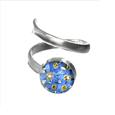 Sterling Silver Real Flower Adjustable Ring - Forget-Me-Not purple & blue - Round - in giftbox ECYgxJk