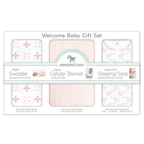 Amazing Baby Gift Set, 3-Piece Set, Cotton Sleeping Sack, Muslin Swaddle, Cellular Blanket, Sunwashed Pink ()