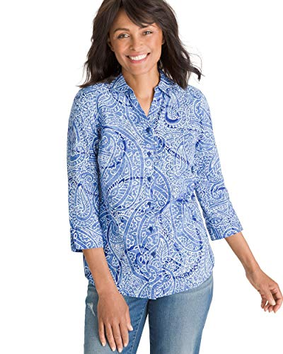 Chico's Women's No-Iron Linen Paisley Shirt Size 20/22 XXL (4) Blue