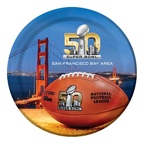 Creative Converting Super Bowl 50 8 Count Sturdy Style Dinner Plates, Multicolor