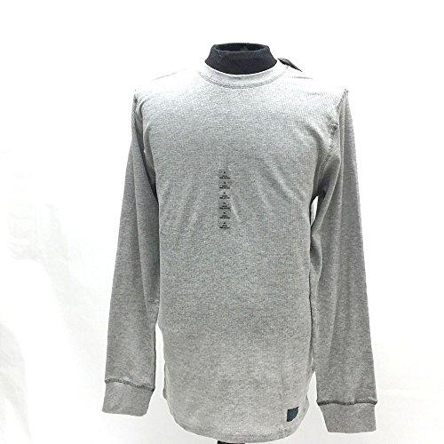 Umbro Knitted Waffle Weave Crew Neck Tee Shirt - Long Sleeve - Light Grey (Umbro Long Sleeve)