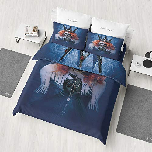 Zilcine 3D Print Duvet Cover Set,Queen,Pattern Revesible Bedding Set Cotton Children Boys Girls Duvet Cover Set 3 Piece Summer Comforter Cover Set(Queen) -