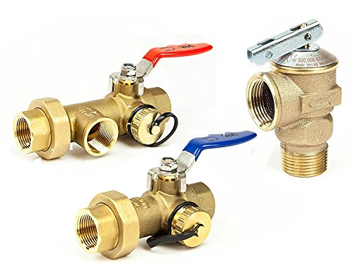 Hot Water Heater Valve (GV 3/4 10341 Tankless Water Heater Isolation Service Valve Hot Cold Relief Valves NSF-61 Clean Brass No Lead Full Port Flush 3/4-Inch)