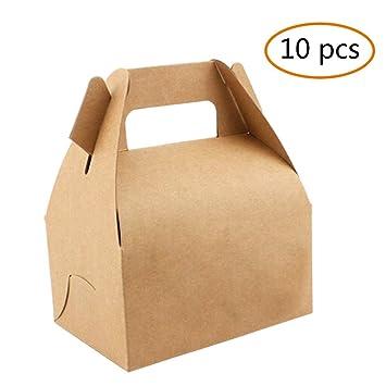 jasmineli Craft caja de cartón kraft favor – boda fiesta de cumpleaños Candy Cake Cookie Pastry