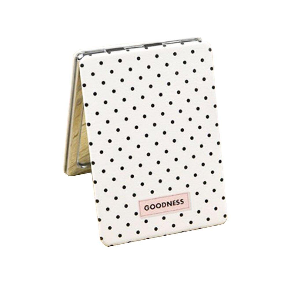 Exquisite Dots tragbare Falten Make-up kosmetische Reisetasche Kompakt-Spiegel Black Temptation