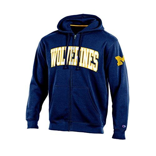 Champion (CHAFK) NCAA Michigan Wolverines Adult Men Full Zip Hooded Fleece, Medium, (Wolverines Hoodie)