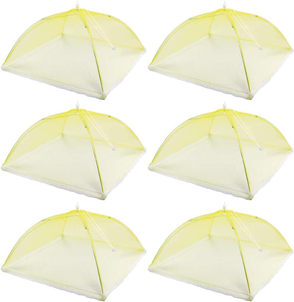 (6 Pack) 17 inches Pop-Up Food Cover Tent, Reusable and Foldable Picnic Food Net Cover, Very Suitable for Outdoor Picnics, Barbecues, Tents to Keep Food Fresh (yellow)