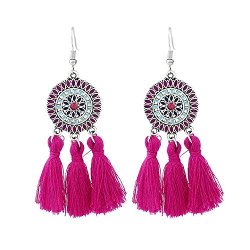 HP95 1 Pair Bohemian Earrings with Tassel Women Rhinestone Earrings Jewelry (B, Hot Pink)