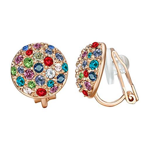 Yoursfs Clip On Earrings for Women Multicolor Crystal Rhinestone Statement Clip Earrings Jewelry - Earrings Rhinestone Clip