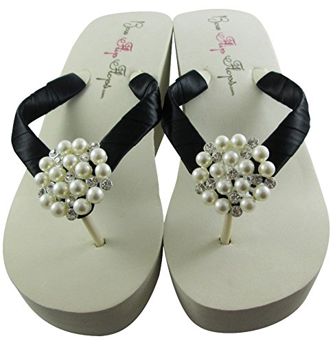 c31039525 Amazon.com  Bow Flip Flops Womens Bridal Wedding Platform Heel Satin Pearl  Flip Flops  Handmade