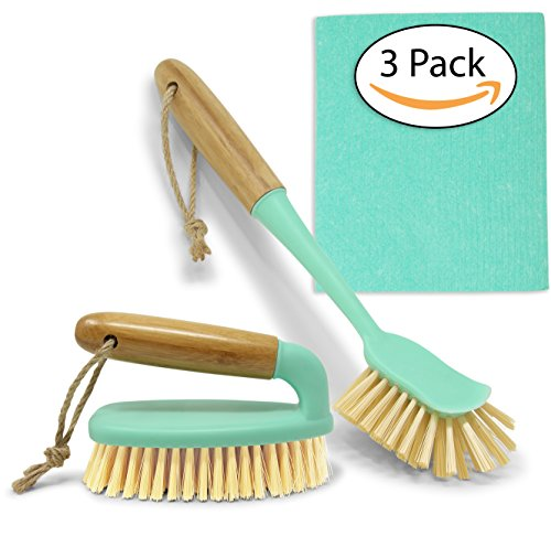 Scrub Brush Dish Scrubber Set - Long Bamboo Handle for Bathroom & Kitchen Cleaning - Bottle Brush & Swedish Dishcloth for Dish Washing Plates, Countertops, Shower, Floor Tile, Tumblers, Instant Pot
