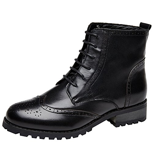 rismart Women's Brogues Ankle High Stylish Leather Combat Boots - stylishcombatboots.com