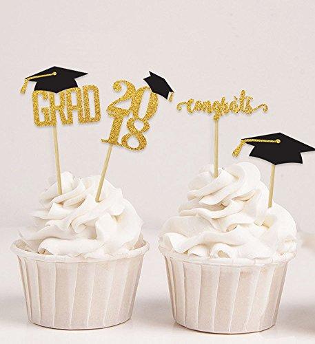Darling Souvenir, Graduation Cap Theme Party Cupcake Toppers , Dessert Decorations Congrats Grad! Cupcake Toppers - Pack Of 20 by Darling Souvenir