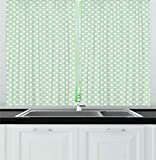 Ambesonne Mint Kitchen Curtains, Retro Polka Dots Motif with Little Circle Round Shapes Elegance Vintage Design, Window Drapes 2 Panels Set for Kitchen Cafe, 55W X 39L Inches, Almond Green White