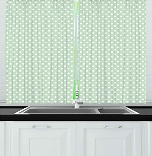Mint Kitchen Curtains By Ambesonne, Retro Polka Dots Motif With Little  Circle Round Shapes Elegance