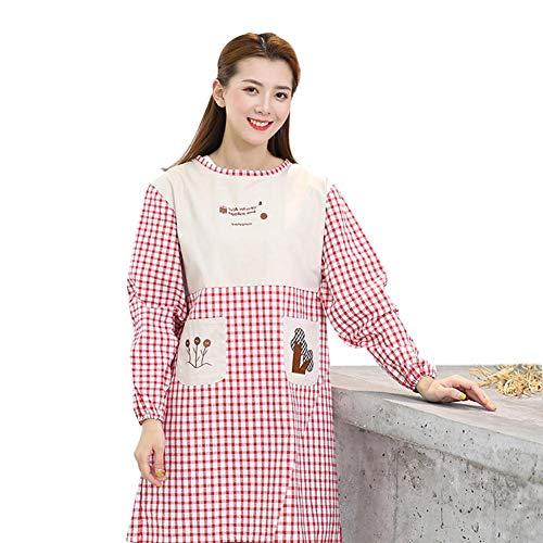 De Tablier Coton Longues Femme Poche En Cuisine Avec Aihome Rouge Manches HqOZBHF