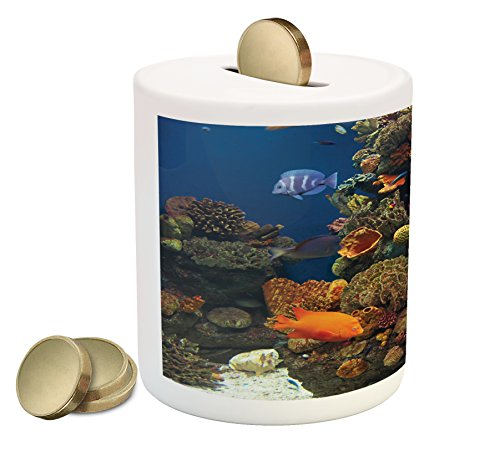 Lunarable Ocean Piggy Bank, Undersea Wildlife Environment with Colorful Sponge Corals Tropic Fishes, Printed Ceramic Coin Bank Money Box for Cash Saving, Brown Orange and Blue