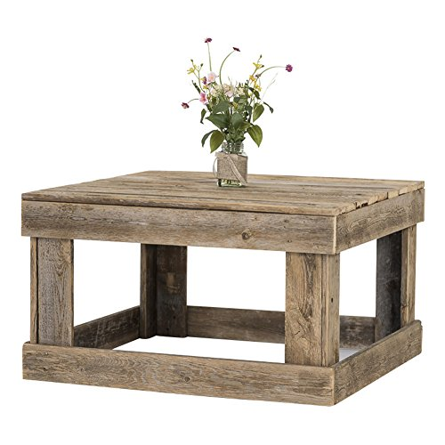 Natural Wood Square Table (Wood Coffee Table Made of Rustic Reclaimed Barnwood by del Hutson Designs, Natural Color and Square Shape (17.5H x 30.5L x 30.5W))