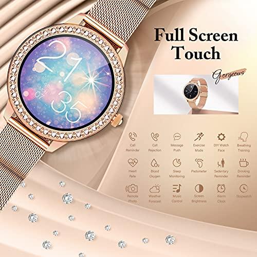 GOKOO Smartwatch Donna, Smartwatch da donna IP68 Impermeabile Orologio smartwatch Fitness tracker Notifiche Messaggi Contapassi Calorie Cardiofrequenzimetro da Polso Activity Tracker per Android iOS