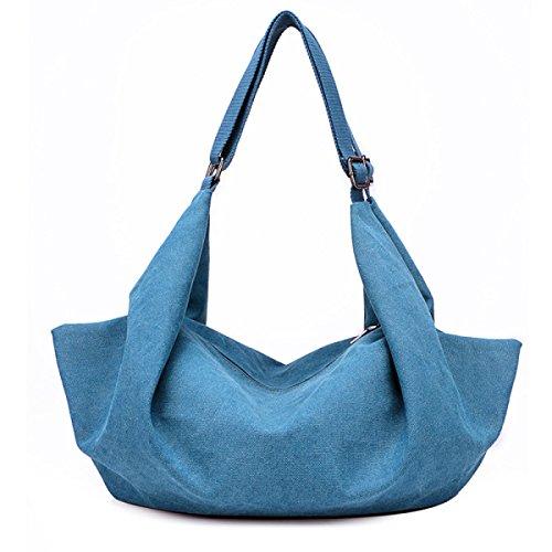 Frauen Jahrgang Leinwand Messenger Aktentasche Schulter Handtasche Arbeiten Sport Tasche ,Blue-OneSize